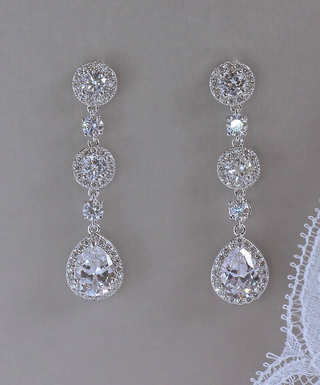 White Gold Crystal Bridal Earrings, BRIGITTE SCT