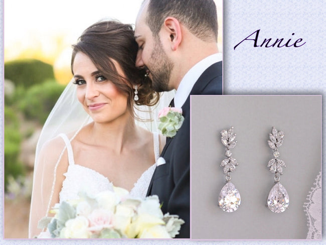 Crystal Chandelier Bridal Earrings Silver, ANNIE