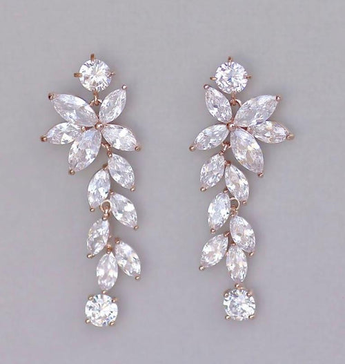 Rose Gold Chandelier Bridal Earrings, MAXIME RG