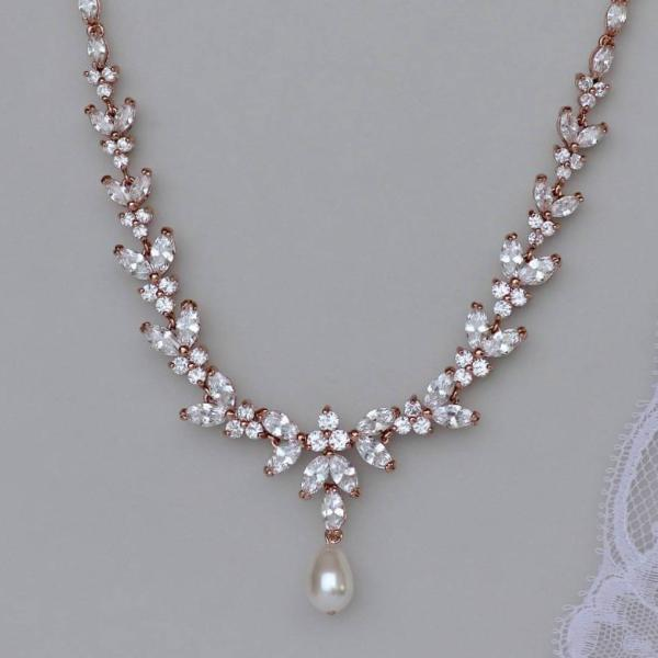 Rose Gold Bridal Necklace, DENISE RG
