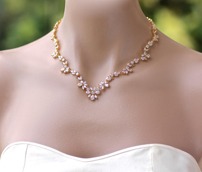 Elegant Gold Crystal Necklace, ASHLEY 2