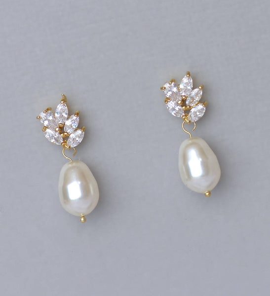 Gold Crystal & Pearl Drop Earrings, LILIANNE G