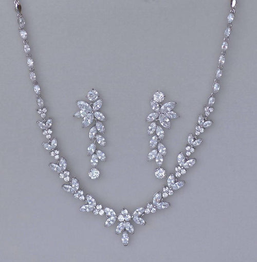 White Gold Necklace & Earring Set, DENISE/MAXIME