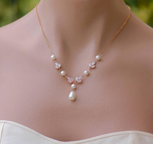Rose Gold Bridal Pearl Drop Necklace, HAYLEY RGP