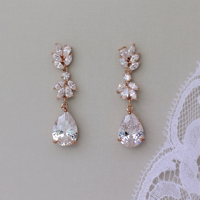 Crystal Rose Gold Earrings, ANNIE
