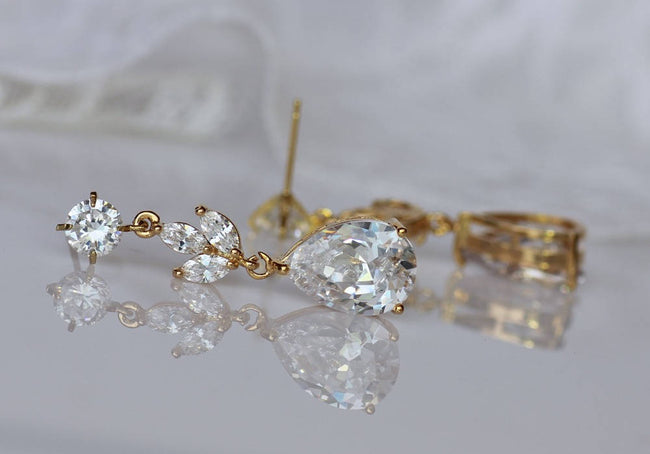 Rose Gold Crystal Earrings, ASHLEY