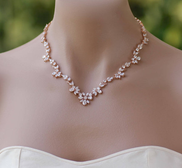 Rose Gold Crystal Necklace, ASHLEY RG