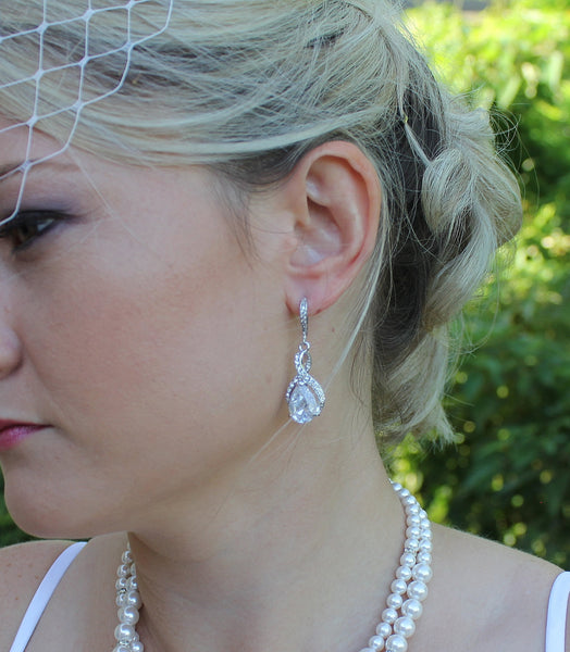 Crystal Twirl Bridal Earrings, RIBBON TWIRL