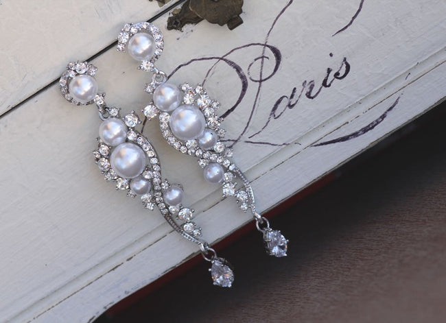 cz and ivory pearl long wedding earrings