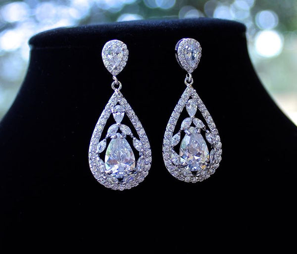 Teardrop Filigree Crystal Bridal Earrings, COCO Silver