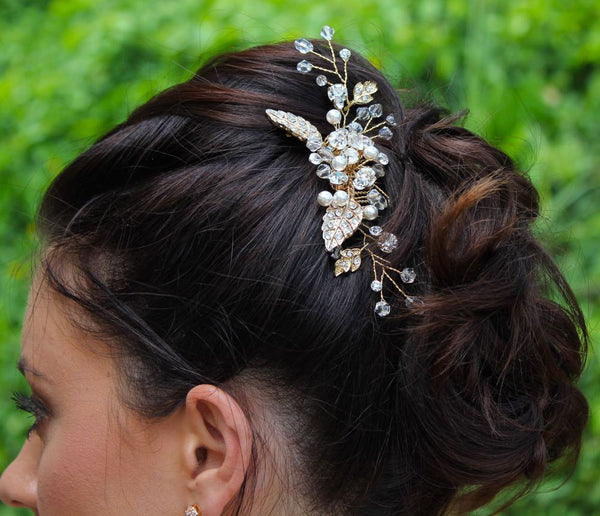 Vintage Wedding Flower Hair Comb, HARPER