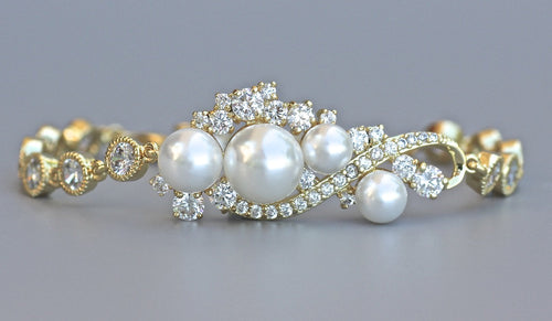 Gold Crystal & Pearl Bracelet, TILLY