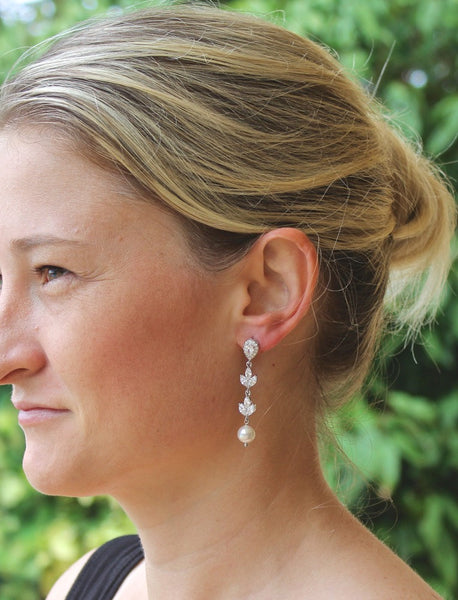 Crystal and Pearl Dangle Bridal Earrings, HAYLEY TD