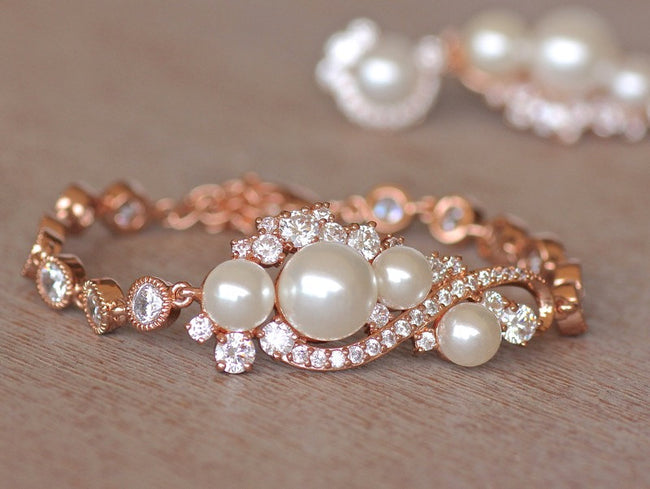 crystal pearl wedding bracelet rose gold