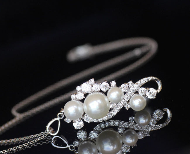 Pearl and Crystal Necklace, TILLY