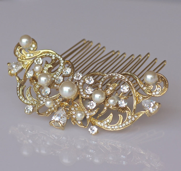Gold and Ivory Pearl Bridal Haircomb, ROCIO Gold