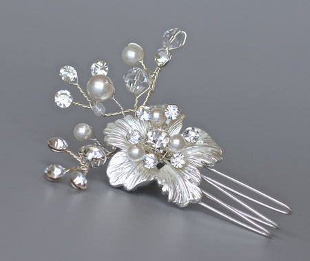 Rose Gold Flower Bridal Hair Comb, BIANCA