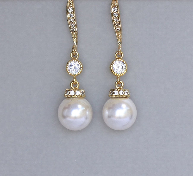 SISSY Pearl Necklace and Earrings Set-Gold