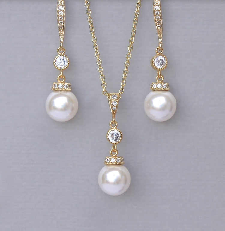 Pearl Necklace and Earrings Set-Gold SISSY