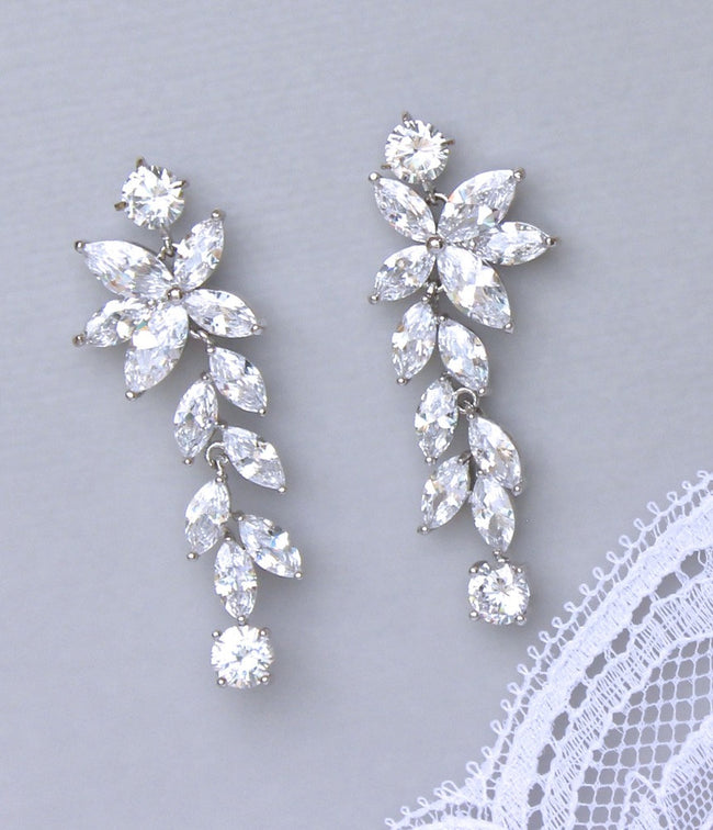 Crystal Chandelier Bridal Earrings, MAXIME