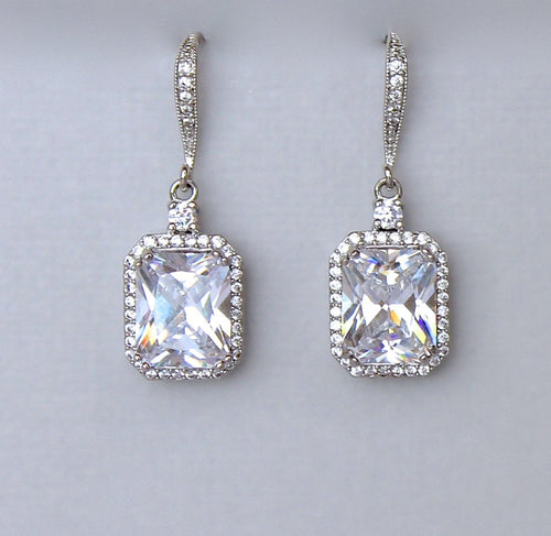 Square Crystal Earrings, EMILIA C