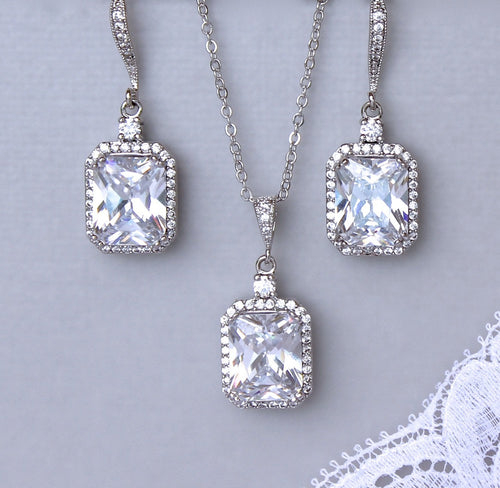 Square Crystal Bridal Set, EMILIA