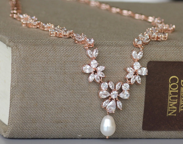 Rose Gold Crystal Bridal Necklace, ASHLEY RG