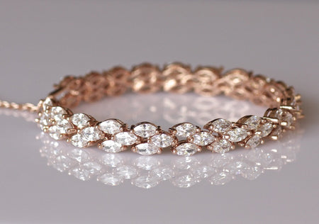 Rose Gold Bangle Bridal Bracelet, ODETTE