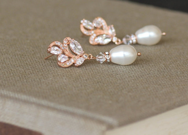 Rose Gold Earrings, FLEUR 2