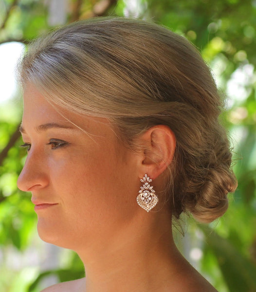 Rose Gold Wedding Earrings, TAYLOR RGC