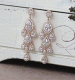 Rose Gold Chandelier Bridal Earrings, TAMARA RG