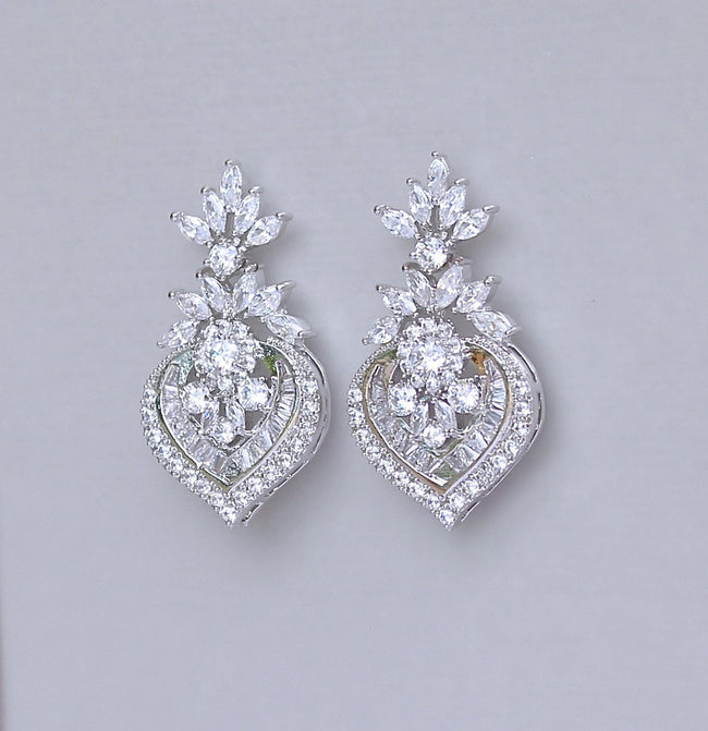 White Gold Crystal Earrings, TAYLOR S