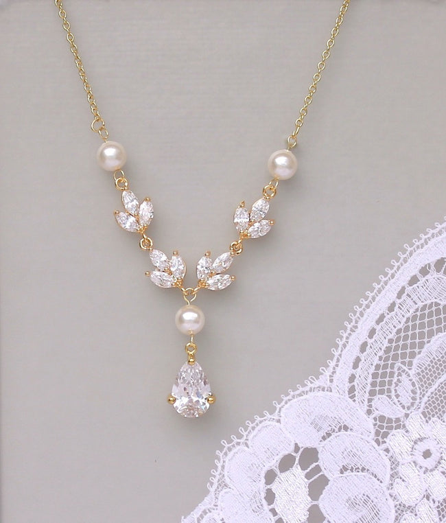 Gold Crystal & Pearl Bridal Necklace, HAYLEY G