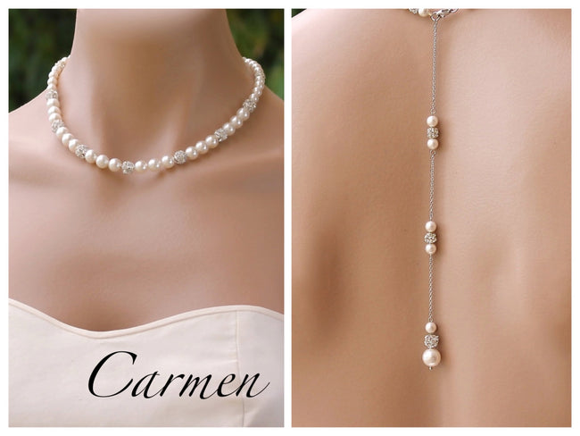 Pearl Pavè Back Drop Necklace, CARMEN