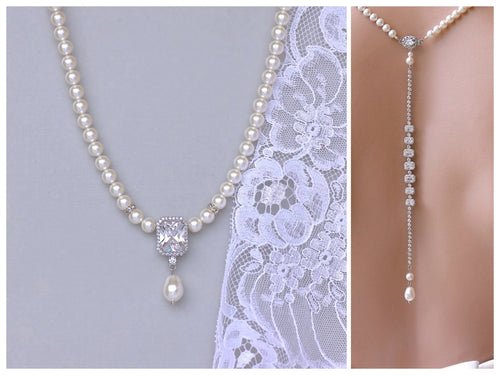 Pearl and Sqaure Crystal Backdrop Necklace, EMILIA P