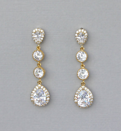Long Gold Teardrop Crystal Earrings, TAMARA G 2