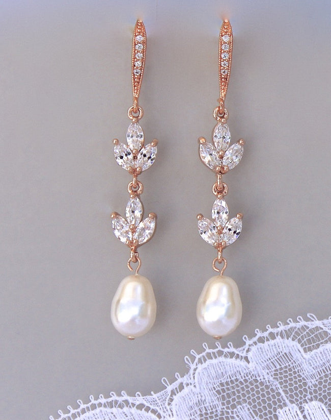 Rose Gold Bridal Earrings, HAYLEY RGP