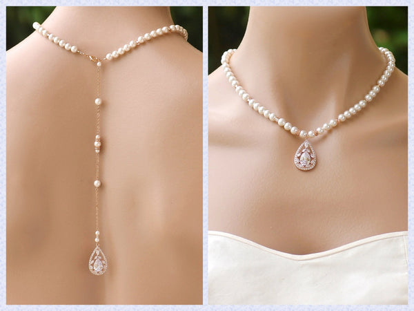 Rose Gold & Pearl Back Drop Bridal Necklace, COCO