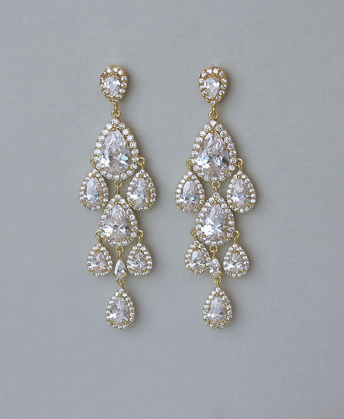 Crystal Chandelier Earrings Gold, Clip on & Post Back Style, TAMARA