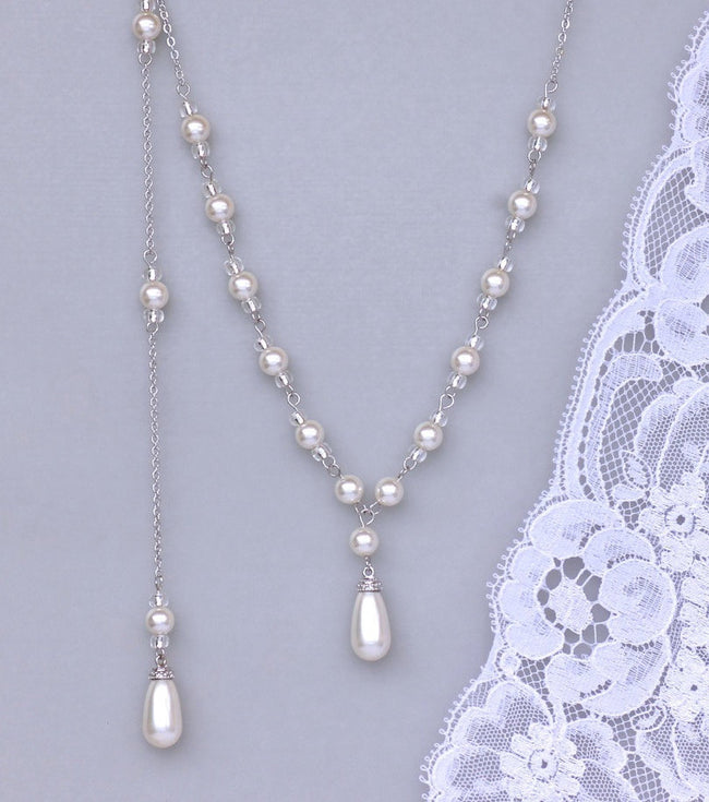 Pearl Bridal Back Drop Necklace, VANESSA