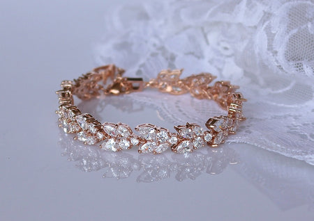 Rose Gold Crystal Bridal Bracelet, FELICITY RG