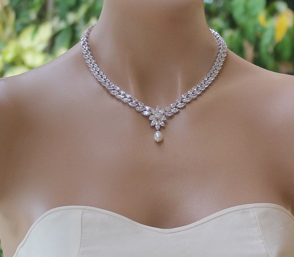 Crystal and Pearl Drop Wedding Necklace  COLETTE