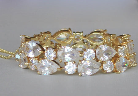 Gold Teardrop Bridal Cuff, TESSA G