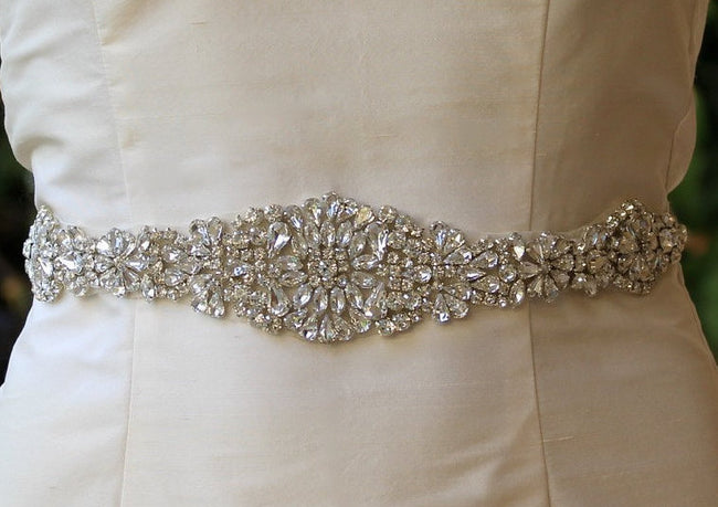 Silver Crystal Wedding Dress Belt, AMOUR