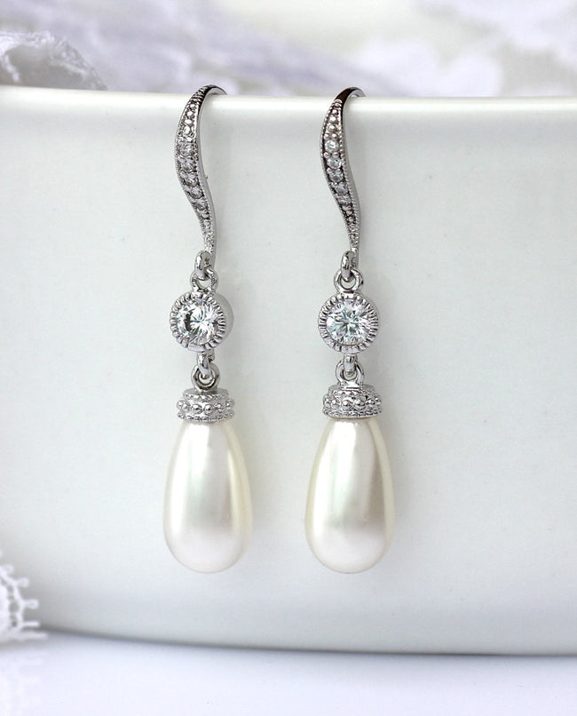 Pearl & Crystal Wedding Earrings, AUDREY