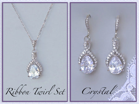 Crystal Bracelet & Earrings Bridal Set, HAYLEY/ASHLEY
