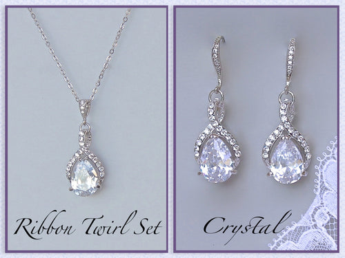 Crystal Necklace & Earrings Set, RIBBON TWIRL