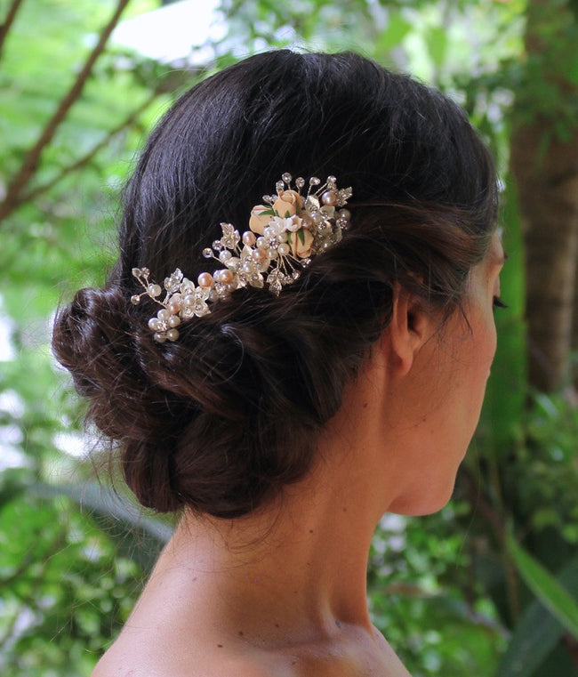 Blush Flower Hair Comb, FAITH