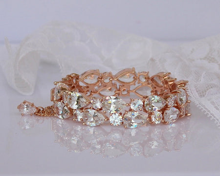 Rose Gold Teardrop Crystal  Bracelet, TESSA