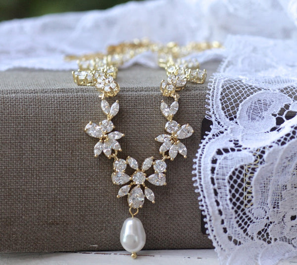 Gold Crystal Bridal Necklace, ASHLEY G